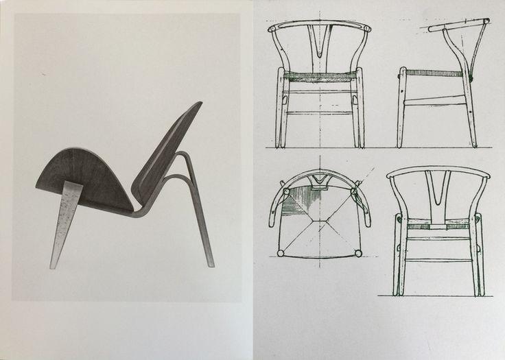Souvenirs from The Copenhagen Design Museum:Hans J. Wegner;The two-part shell chair (1963), Drawing for the wishbone chair (1950) #aelder #aelderdesign