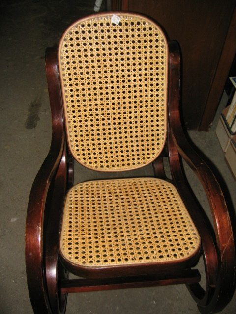 Bent Wood Rocker Chair Has Bent Wood And Wicker Seat And