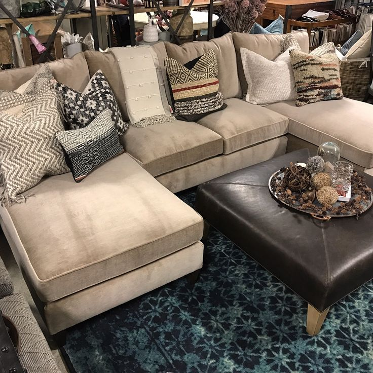 You can't go wrong with a double-chaise end sectional! The Melania is wrapped is the most velvety soft fabric and has room for the whole crew!