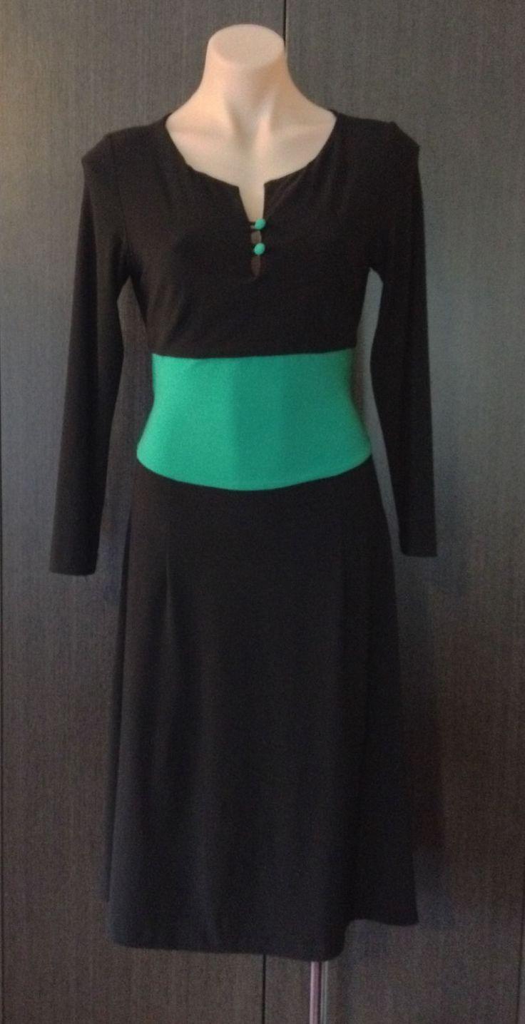 LEONA EDMISTON FROCKS BLACK & GREEN STRETCH DRESS SIZE 2 (10-12) | eBay