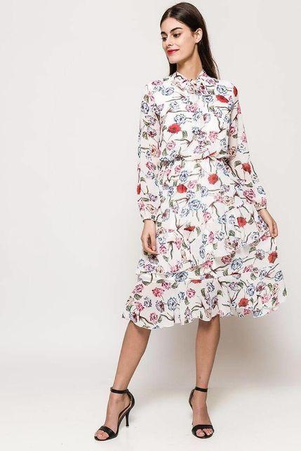 865c0930809e Biele midi šaty s kvetinovým vzorom a golierom