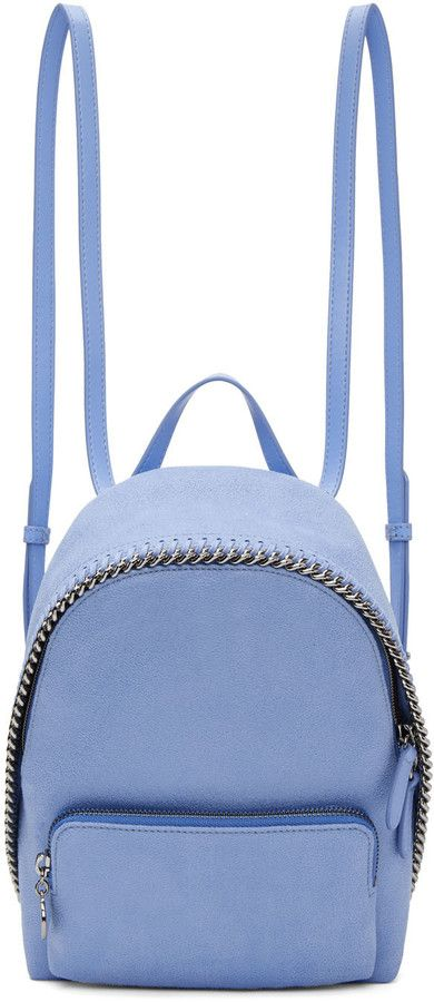 Stella McCartney Blue Mini Falabella Backpack #Backpack #Bag #Casual #travelbag #Casualstyle #Blue