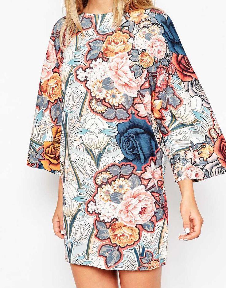 Image 3 - ASOS - Robe t-shirt à manches kimono et imprimé à fleurs