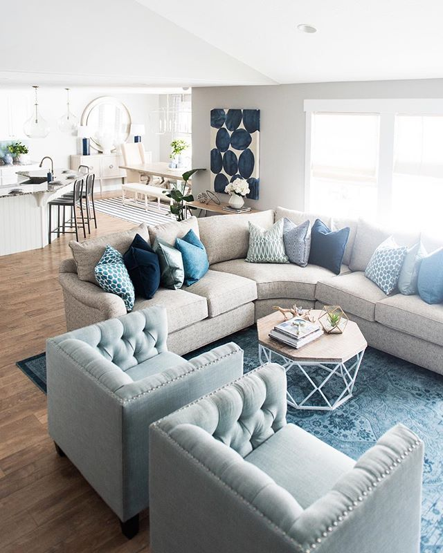 Our Current Most Pinned Image On Pinterest Is This Family Room In Shades Of Tranquil Blue Hoping This Living Room Grey Blue Living Room Coastal Living Rooms