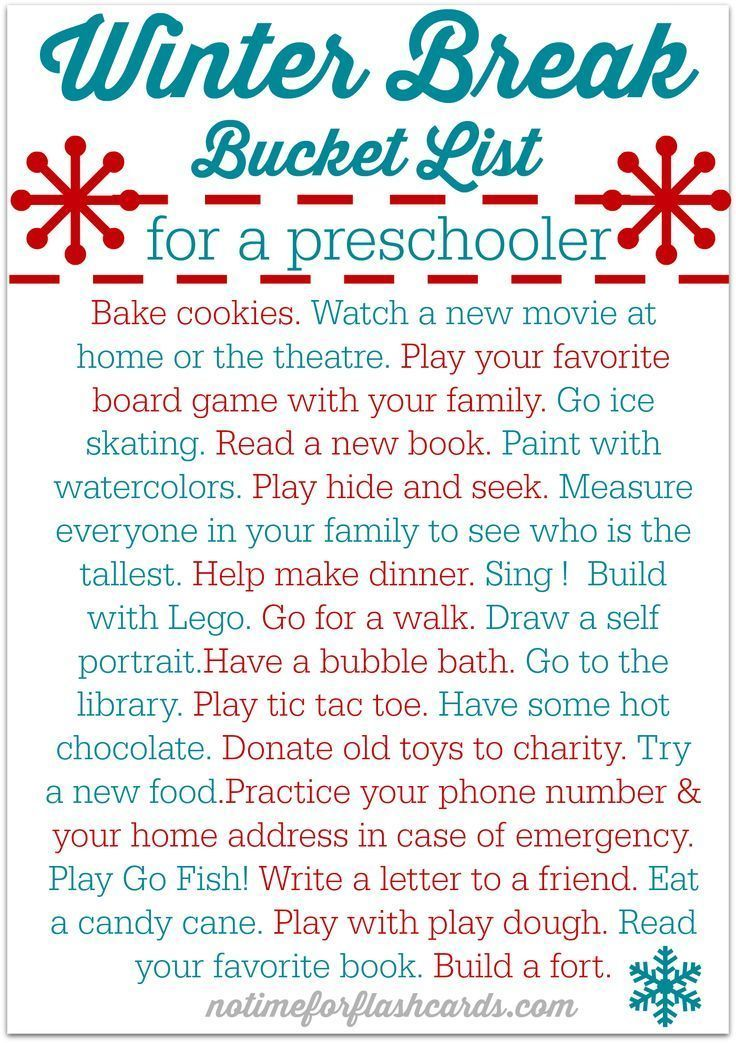 winter break bucket list free printable