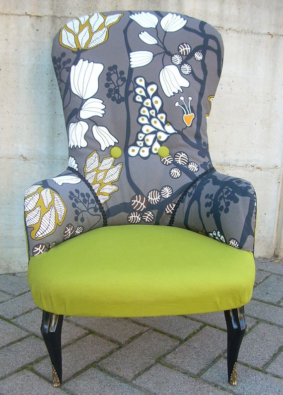 Loving Chairs at themoment and love this colour combination! Floral fabric chair by LorenDesignStore