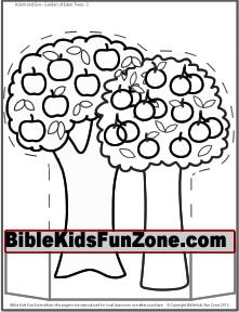 Black and white Garden of Eden craft page for children to color - Fruit trees 2.