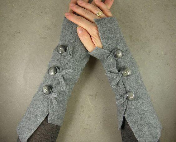 Gray arm warmers fingerless mittens wrists warmers arm cuffs fingerless gloves…
