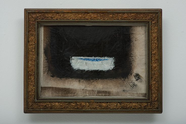 Antonio Bellotti Blue Boat Black Mixed Media and Oil on Canvas 34 x 43 cm (Including Frame)  #Art #Paintings #Boats