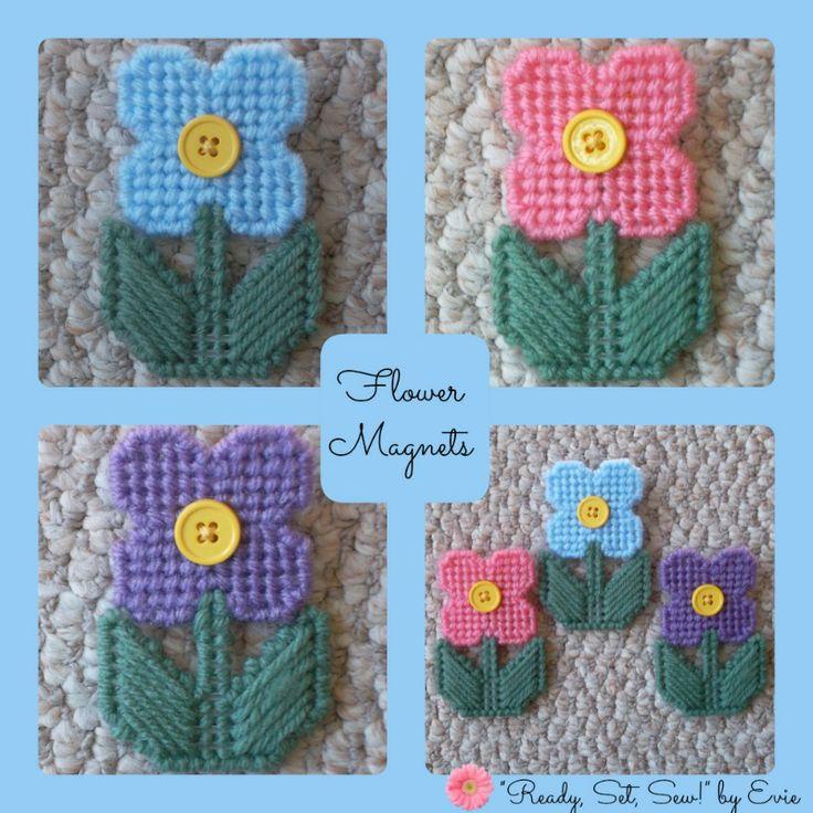 Plastic Canvas: Flower Magnets -- Imagine having about a dozen of these on your fridge. . .instant springtime!!!