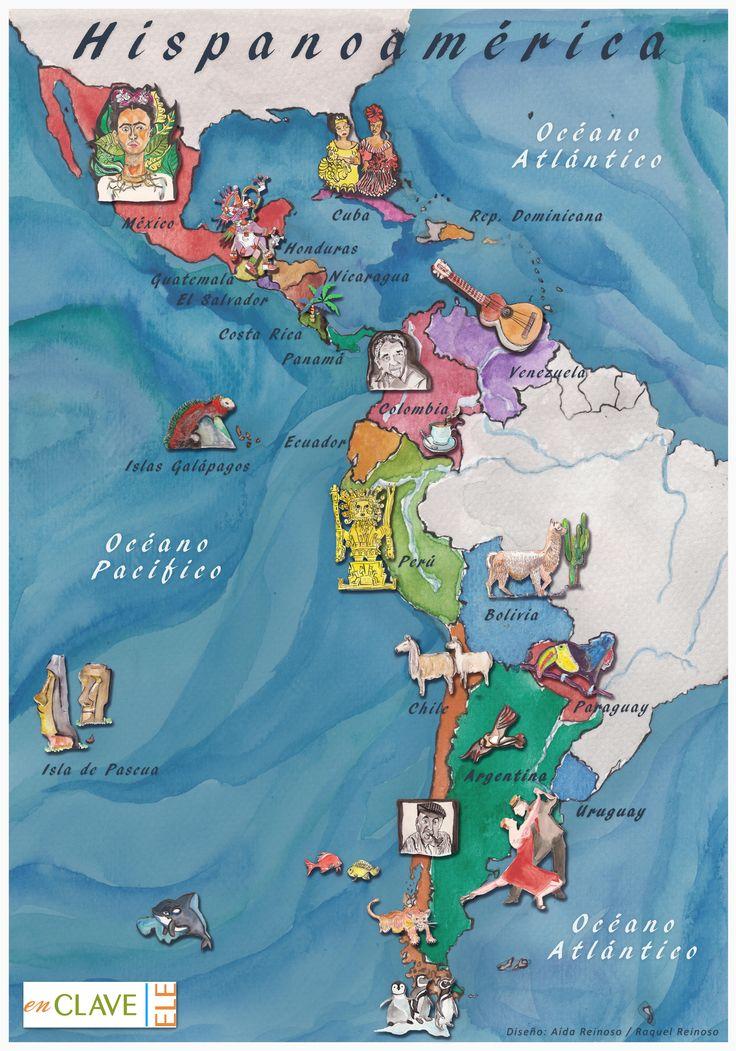 Pineado de http://enclave-ele.weebly.com/uploads/2/8/8/0/28807245/mapa_hispanoam%C3%A9rica_cultural.jpg