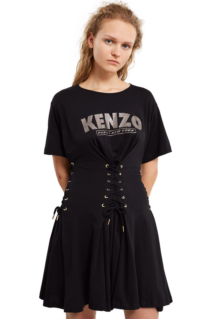 Kenzo, Corseted Fit and Flare Dress This fit-and-flare style dress is cut from soft cotton jersey with a playful rainbow glitter logo print at the front. The corset-inspired lace-up details at the waist creates an A-line silhouette and flirty pleats., Crewneck, Short-sleeve, Mid-thigh length, 100% cotton, Imported