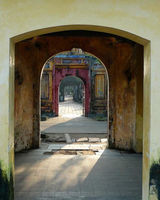 Colorful Doorways inside the Imperial City, Hue, Vietnam.