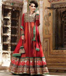 Buy Red embroidered net semi stitched salwar with dupatta anarkali-salwar-kameez online