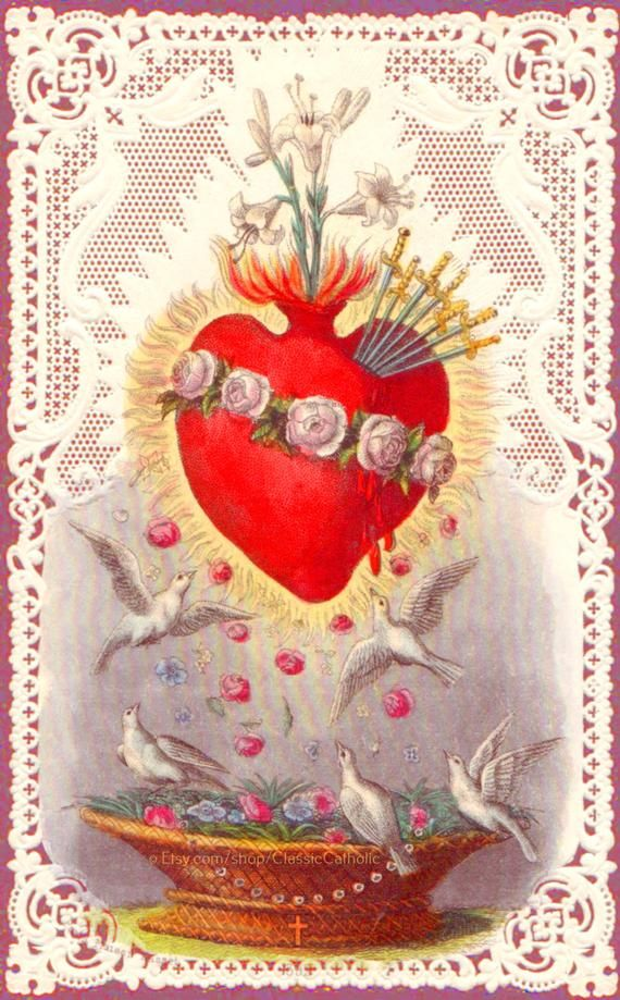 "Immaculate Heart of Mary with Doves and Lace –8.5x11"" based on a ..."