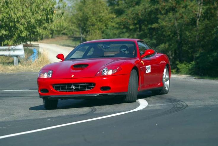 """More sideways in the F575 Maranello, the last """"old style"""" Ferrari. Somewhere near Maranello, Italy. Photo (c) Thanos Iliopoulos"""