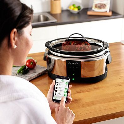 Crock-Pot® Smart Slow Cooker enabled with WeMo™ -- Cook remotely, using the WeMo app, by accessing all Slow Cooker functions on your phone so your food is done when you arrive home.