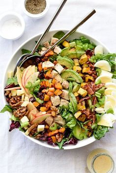 Roasted squash, crunchy apples and dried cherries add seasonal freshness dressed in a spiced apple cider vinaigrette and topped with candied walnuts.