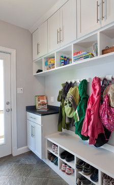 Mudroom - Like the cabinets separate from the bench.