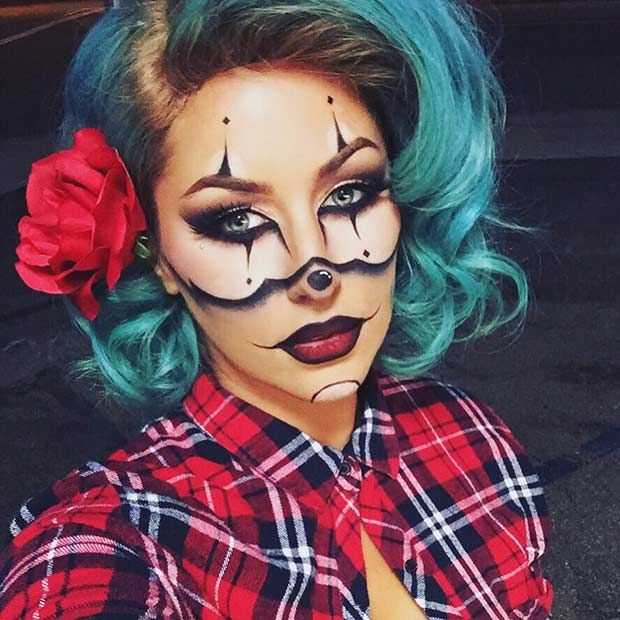 21 easy diy halloween makeup looks halloween pinterest gangsta clown makeup clown makeup and makeup ideas