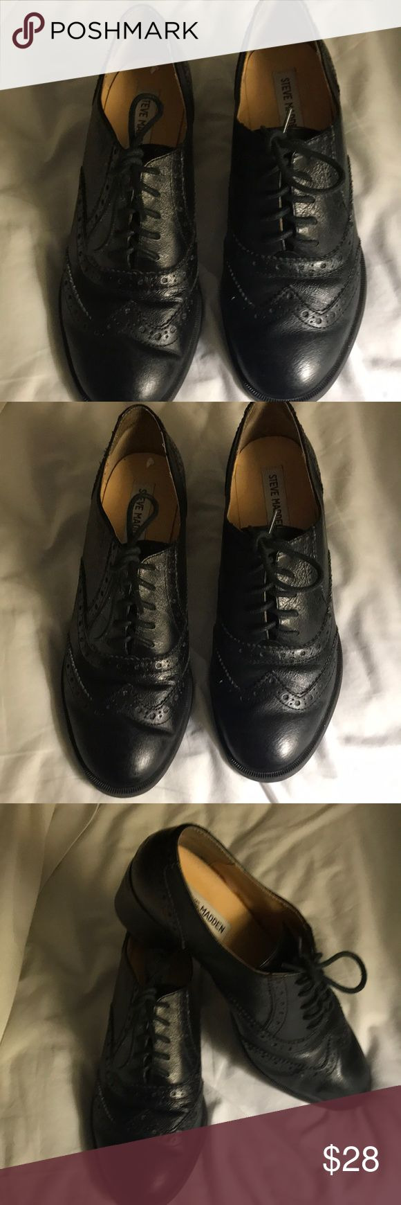 NWOT OXFORD LACE UPS BY STEVE MADDEN HAVE I MENTIONED HOW MUCHA FAN OF THE MENS STYLE OXFORD SHOES FOR WOMEN ! WELL IF NOT HERE IS ANOTHER PAIR ! Brand new worn around the house / A LITTLE TOO BIG ON ME ! BLACK ON BLACK LEATHER THESE SHOES GO WITH ANYTHING! AND THE PRICE IS AMAZING. LOVE THE SPECTATOR FRONT ! SO AMAZINGLY COOL Steve Madden Shoes