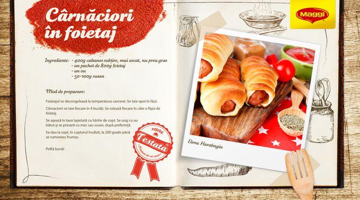 """Carnaciori in foietaj / Sausages in pastry   Din """"Prieteni de-ai casei"""", direct in bucatarie, vine o reteta savuroasa! Pentru si mai multe retete de bunatati, va asteptam pe www.maggi.ro/retete sau in Atelierul de Creatie Culinara MAGGI aici www.facebook.com/..."""