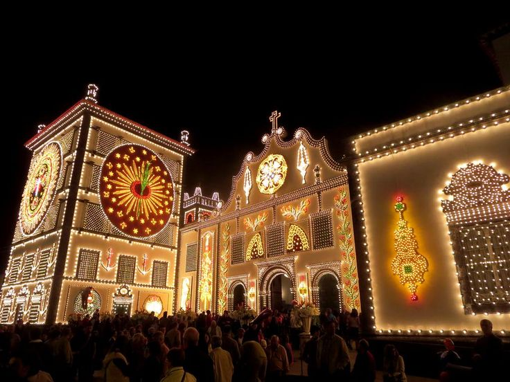 The Convento da Esperanca (1541) in Ponta Delgada on Sao Miguel Island, Azores, illuminated for the Festas do Senhor Santo Cristo dos Milagres.