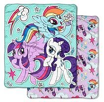 """Hasbro's My Little Pony, """"Sticker Pals"""" 60""""x 70"""" Double Sided Cloud Throw"""