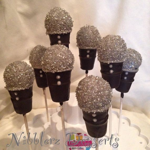12 Microphone cake pops, Musician, Music party, singer, rock band, rapper, Rock 'n roll