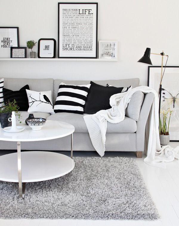 Klare Linie, Wohnzimmer in schwarz/weiss/grau