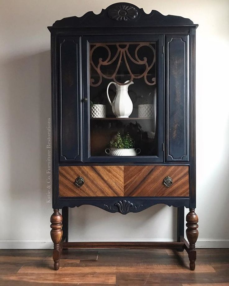 Painted and Stained China Cabinet Makeover #painte…