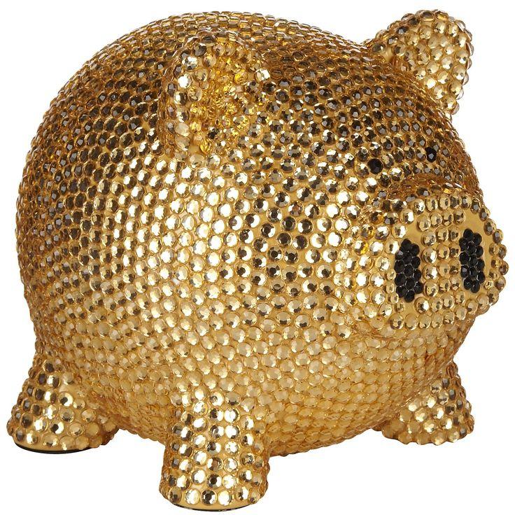 Trumpette Rhinestone Piggy Bank in Gold at London Jewelers!