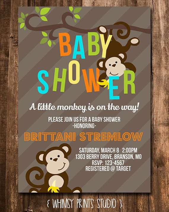 Baby Boy Shower Invitation Monkey Baby Shower Invite Monkey Invite Digital Printable Party Invite 137 on Etsy, $10.00