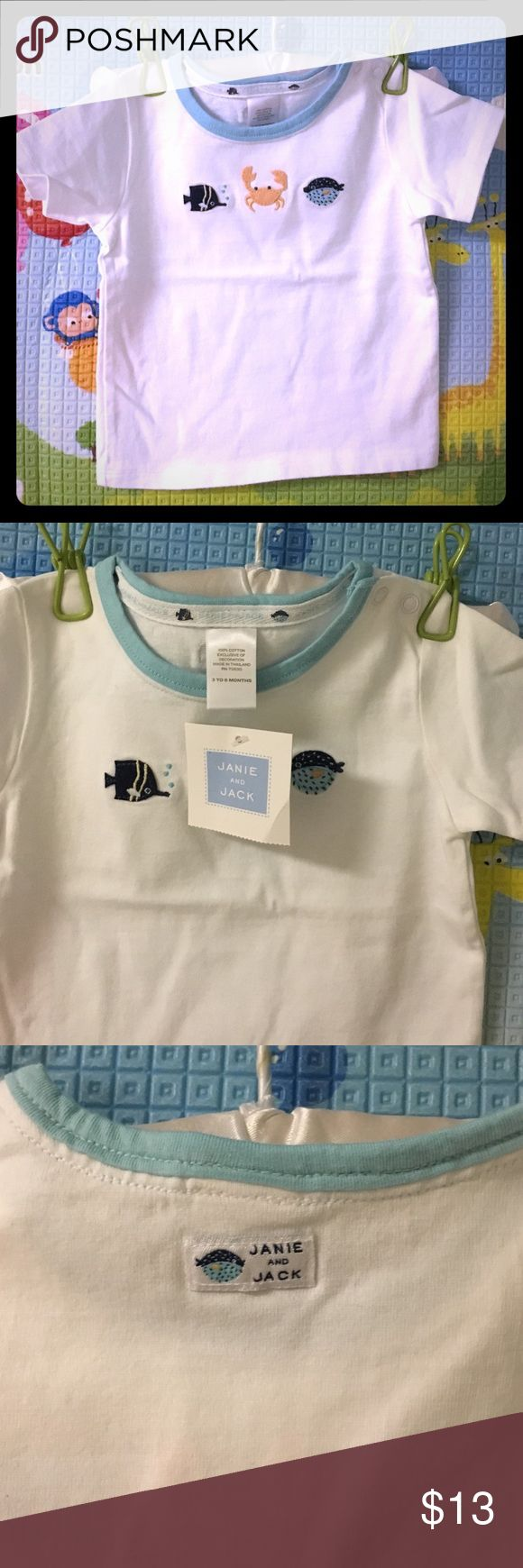 NWT Janie and Jack nautical boys t-shirt 3-6M NWT Janie and Jack nautical boys t-shirt 3-6M. This t-shirt was bought with the nautical blue plaid shorts, if interested in both I will bundle as a set. Janie and Jack Shirts & Tops Tees - Short Sleeve
