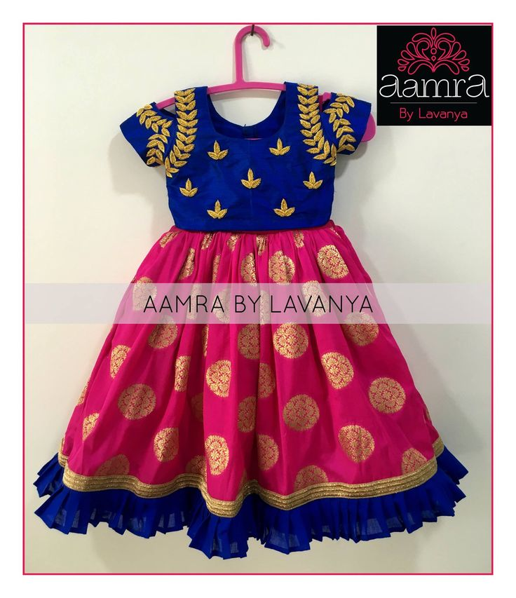 Beautiful pink and royal blue color combination kids gown from Aamra.<br> For details and colour customisation  please call/whatsapp on +91-9177363970 or email to aamrabylavanya@gmail.com 13 June 2017