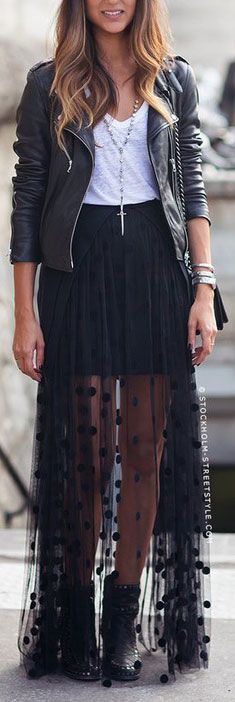 Sheer Polka Dot Maxi Skirt Outfit                                                                                                                                                                                 More