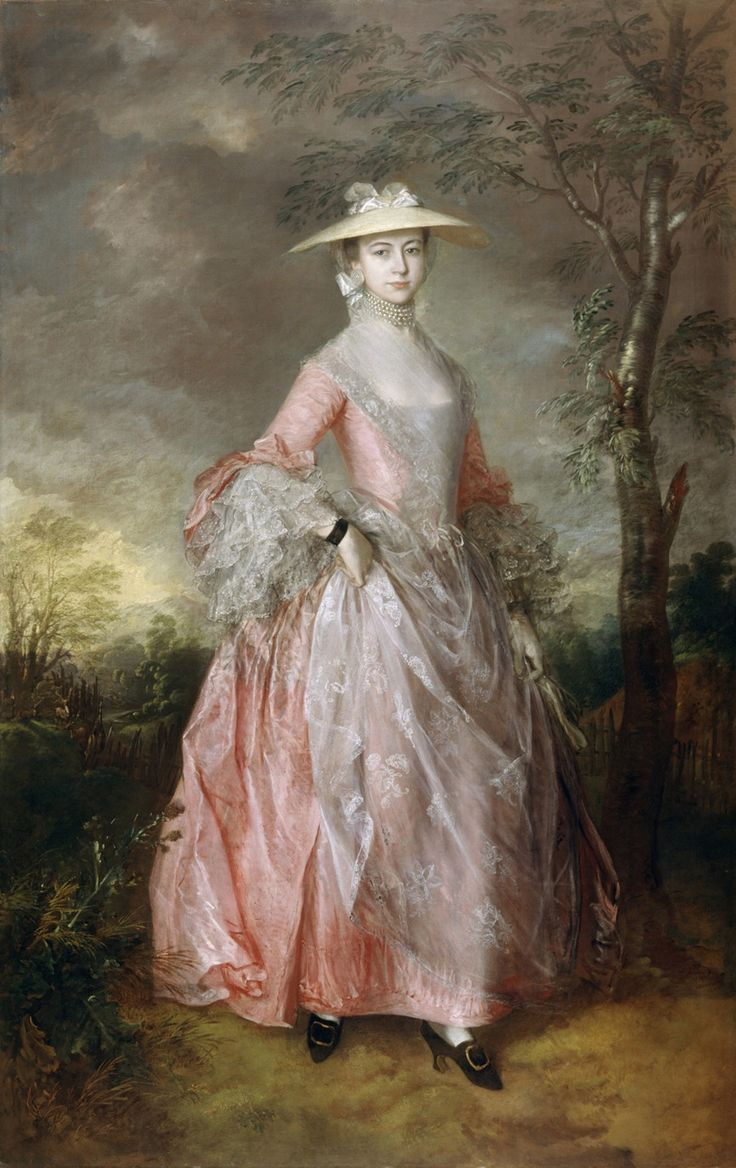 Gainsboroughs Mary Countess HoweFive strands of pearls about neck, transparent gauze fichu with embroidered edge covering decolletage, pretty pink silk gown, bow at elbow length sleeve to draw attention to three tiers of delicate lace ruffles (engageantes), black velvet band around wrist (possibly with miniature portrait - out of view), gossamer thin embroidered apron - the fashionable accoutrement for fashionable ladies! Black silk shoes with gold/brass buckle. 1763 Thomas Gainsborough