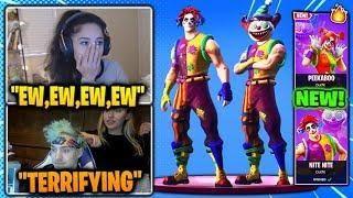 girls scared of new clown skins on fortnite ninja streamers react fortnite br - how to play the clown game in fortnite