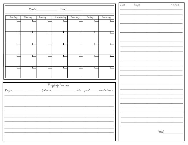 Worksheet To Keep Track Of Paid Monthly Bills Journaling