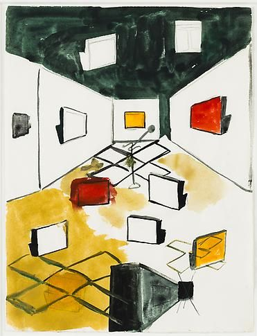 Untitled, 1985-87. Watercolor, ink, pencil on paper, frame size 18 1/2 x 15 3/4 in (47 x 40 cm). MP D-46