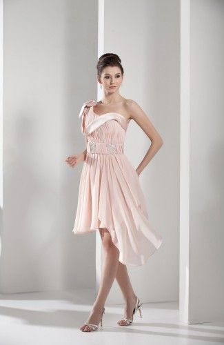 Light Pink Elegant One Shoulder Sleeveless Zipper Chiffon Asymmetric Bridesmaid Dress