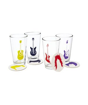 Guitar Glasses and Coasters Set - Gift Ideas From Gifts.com