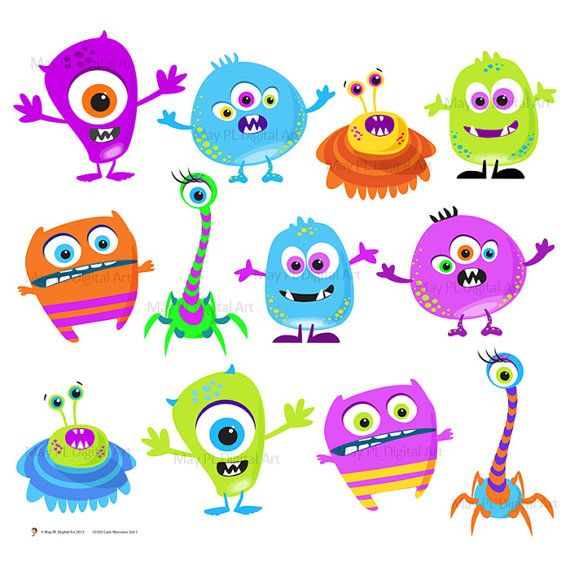 Monster Clipart Clip Art Digital Monster Cute Little Silly Monsters Funny Monster banners, scrapbooking, invites, cards Set 1 - 10102 via Etsy