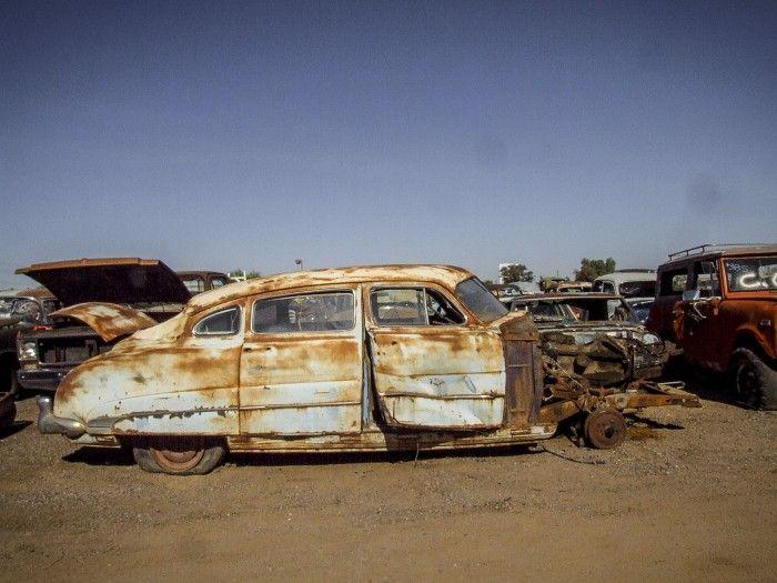 Hudson Hornet sedan.the dilapidated beauty of Desert Valley Auto Parts.