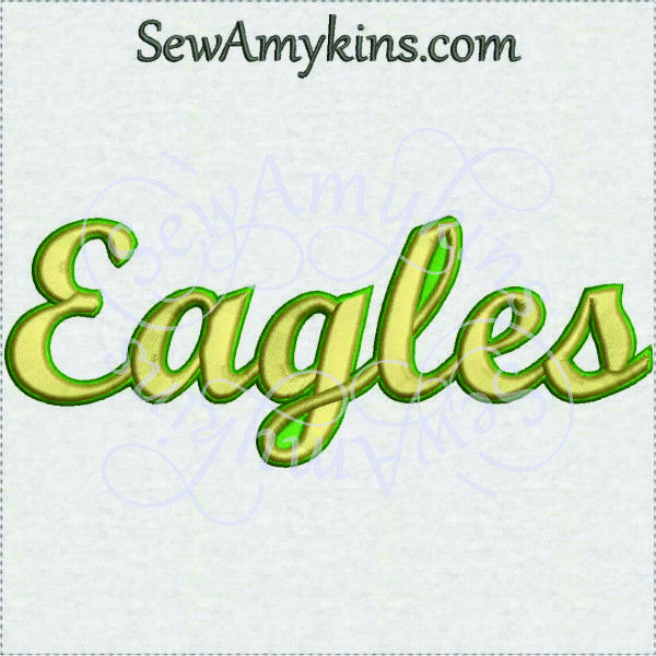 This Eagles team name school mascot machine embroidery design comes in 3 sizes.
