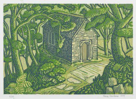 CHAPEL-IN-THE-WOOD, linocut print by Rena Gardiner, 1999, at Cotehele, Cornwall.