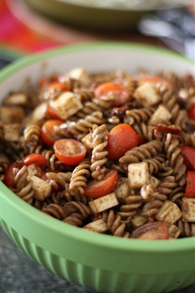 Pasta Salad Caprese with Roasted Garlic and Balsamic Dressing | aggieskitchen.com  #pasta #salad #recipe