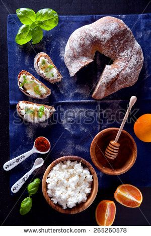 ricotta and honey. morning table. italian breakfast . bread with rye