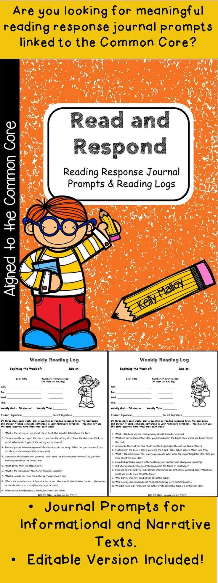 3rd Grade Reading Response Journal Prompts Read and Respond - Reading Response Journal Prompts and Reading Logs aligned to 3rd  Grade Common Core Standards.
