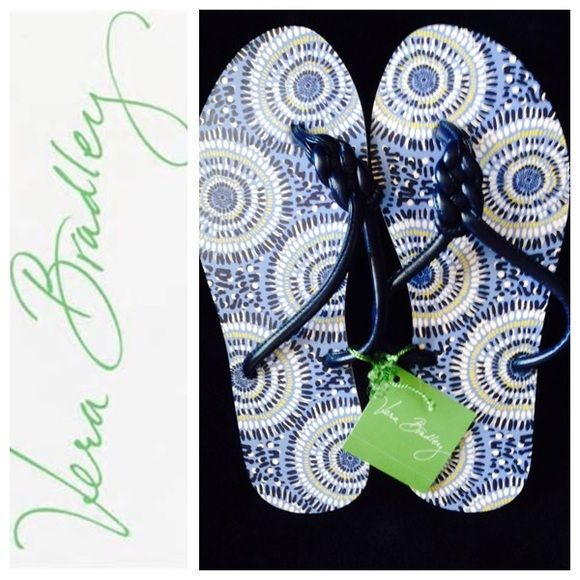 Brand New Vera Bradley Blue Flip Flops Very pretty blue flip flops never worn in medium (7-8) Vera Bradley Shoes